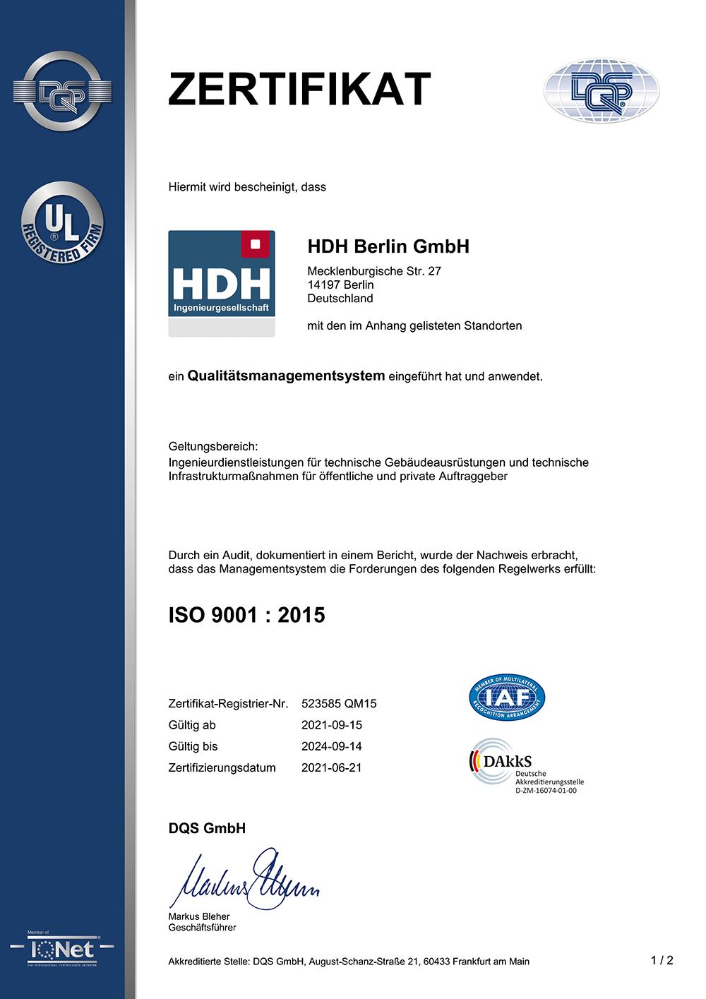 ISO 9001 : 2015 Zertifizierung